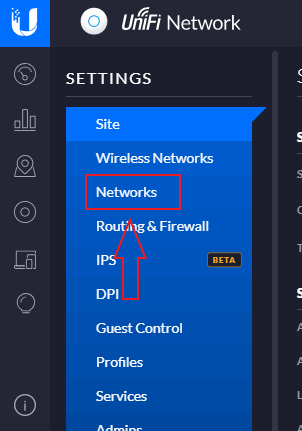 Networks settings option - ready for setting up a VLAN